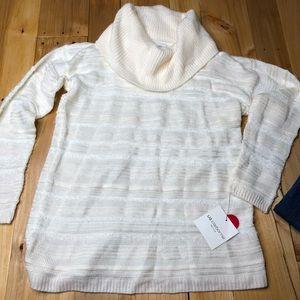 Liz Claiborne cream cowl neck sweater NWT